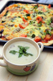Mushroom Soup And Pizza Stock Photography