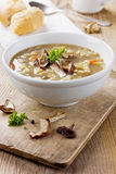 Mushroom soup with barley and vegetables. In white plate on a rustic wooden kitchen board Stock Photography