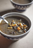 Mushroom soup. In a bowl with bread Royalty Free Stock Images