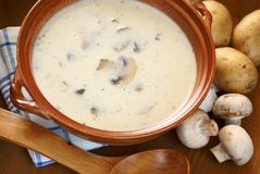 Mushroom soup. Bowl with creamy mushroom soup and fresh food ingredients Stock Images