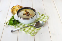 Mushroom soup with a bread roll and parsley Royalty Free Stock Images