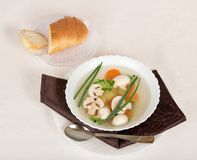 Mushroom soup, bread, spoon and napkin Stock Photography
