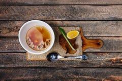 Mushroom soup in ceramic bowl. stock photos