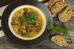 Mushroom soup in ceramic  bowl Royalty Free Stock Image