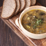 Mushroom soup in ceramic  bowl Royalty Free Stock Images