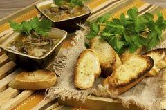 Mushroom soup in ceramic  bowls Stock Image