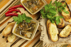 Mushroom soup in ceramic  bowls Royalty Free Stock Photos