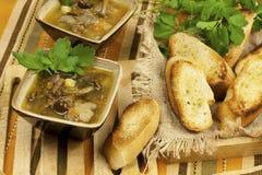 Mushroom soup in ceramic  bowls Stock Photo