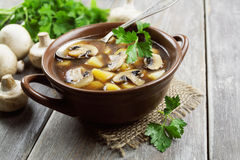 Mushroom soup with champignons Stock Photography