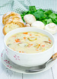 Mushroom soup with chicken Stock Photo