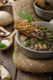 Mushroom soup. With chive and herbs, bio healthy whole-grain toast Royalty Free Stock Photography