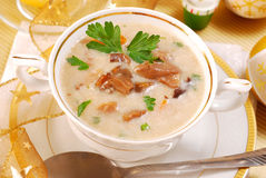 Mushroom soup with cream for christmas Stock Photo