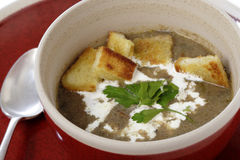 Mushroom soup with cream and croutons Royalty Free Stock Photos