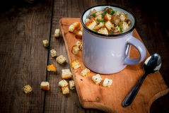 Mushroom soup with croutons and herbs Royalty Free Stock Photography