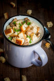 Mushroom soup with croutons and herbs Royalty Free Stock Image