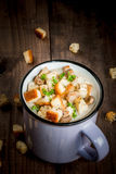 Mushroom soup with croutons and herbs Stock Images