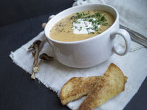 Mushroom soup with croutons. On a linen napkin Stock Photos