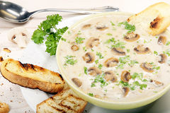 Mushroom soup with croutons on wooden background Stock Image