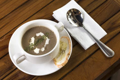 Mushroom Soup. A cup of mushroom soup ready to be served Stock Photography