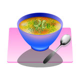 Mushroom soup in a deep plate with spoon. With mushrooms and fennel bouillon Stock Images