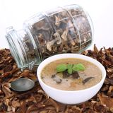 Mushroom soup and dried mushrooms Stock Photo