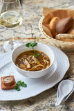 Mushroom soup with egg noodles Stock Photo