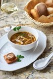 Mushroom soup with egg noodles Royalty Free Stock Photos
