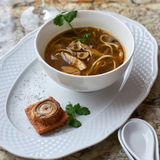 Mushroom soup with egg noodles Royalty Free Stock Image