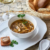 Mushroom soup with egg noodles Stock Photography