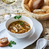Mushroom soup with egg noodles Royalty Free Stock Images