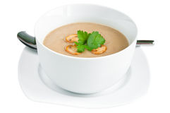 Mushroom Soup. With fresh parsley isolated on white with clipping path Stock Photos