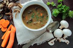 Mushroom soup with fresh vegetables and herbs Royalty Free Stock Images