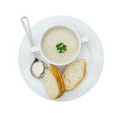 Mushroom soup with garlic bread (isolated on white with clipping path) Stock Image