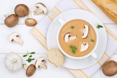 Mushroom soup with mushrooms in bowl from above Royalty Free Stock Image