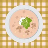 Mushroom soup in a plate on the table with a tablecloth. Delicious Mushroom soup on a plate on the table with a tablecloth stock illustration
