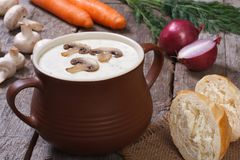 Mushroom soup in a pot and ingredients Royalty Free Stock Photos