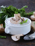 Mushroom soup puree with fresh champignons Royalty Free Stock Images