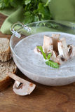 Mushroom soup puree with fresh champignons Royalty Free Stock Photography