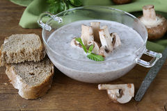 Mushroom soup puree with fresh champignons Stock Photo