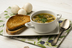 Mushroom soup with roasted bread on the wooden background. Royalty Free Stock Photography