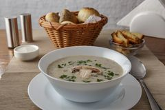 Mushroom soup. Served on the table stock images