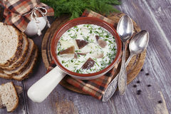 Mushroom soup. With sour cream  in the bowl on the table Stock Photo