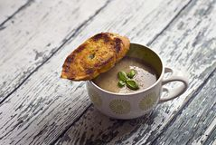 Mushroom soup with a toast Royalty Free Stock Images