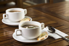 Mushroom Soup. Two cups of mushroom soup ready to be served Royalty Free Stock Images