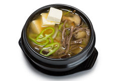 Mushroom soup with vegetables, beef and tofu. From a series of Food Korean cuisine Stock Image