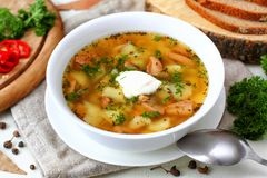 Mushroom soup with vegetables and bread Stock Photo