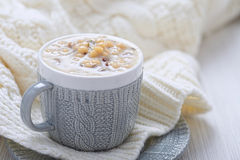 Mushroom soup. Warm Winter Creamy Mushroom Soup with Pasta Royalty Free Stock Photography