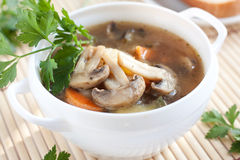 Mushroom soup in white tureen Stock Image