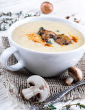 Mushroom soup on a wooden Stock Image