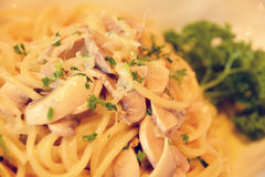 Mushroom spaghetti with herbs Royalty Free Stock Photography